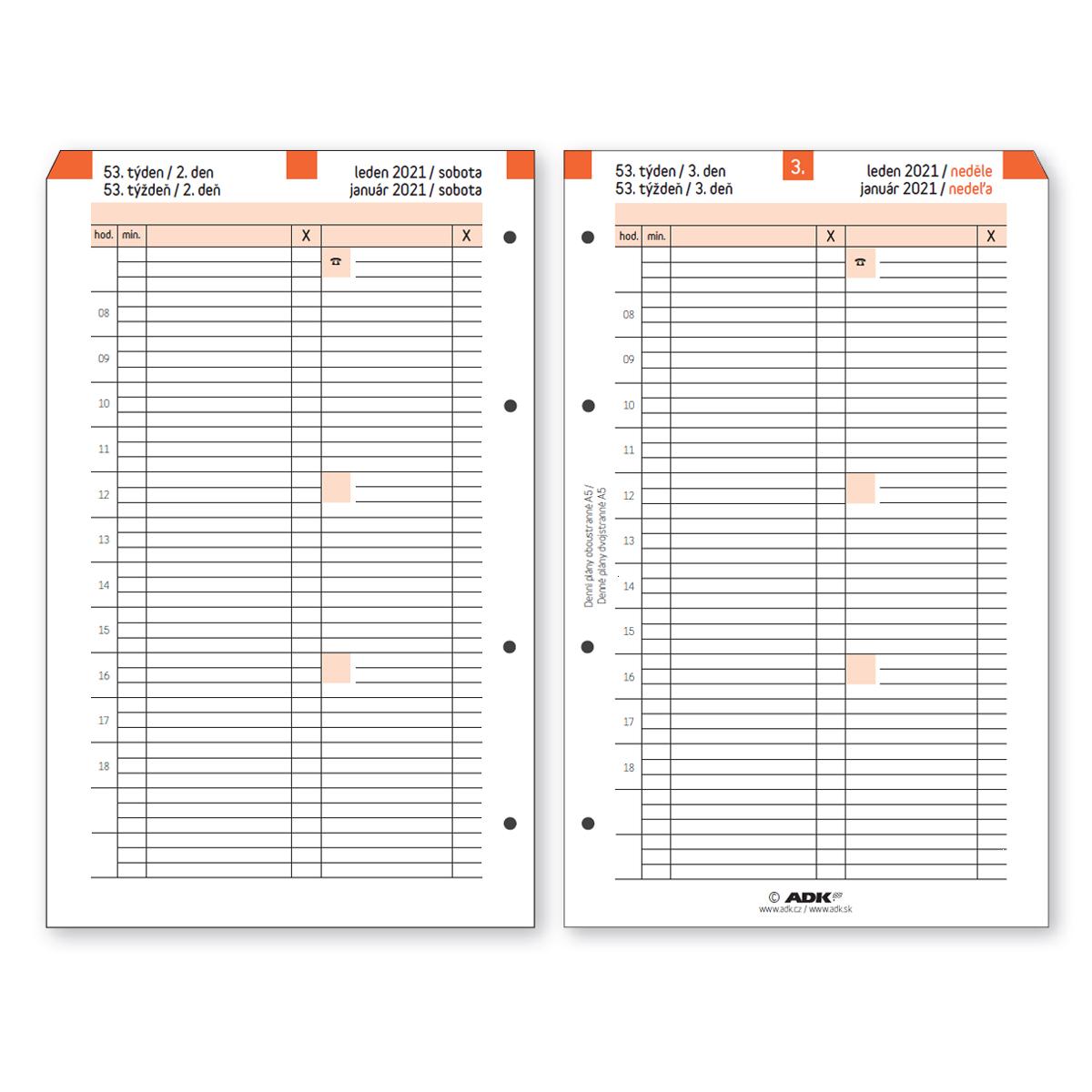 Formulár Denný plán termínovaný A5 obojstranný 2021 (183 ...